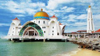 มัสยิดมะละกาในมาเลเซีย Malacca Straits Mosque, Malacca Island